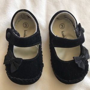 Dressy but comfy velveteen baby shoes